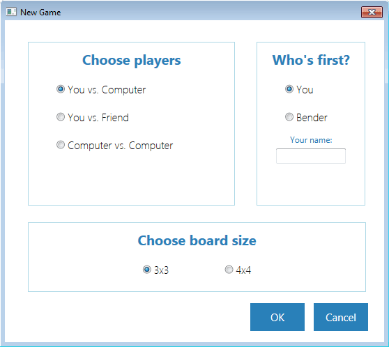 Screenshot of the form that fetches the variables to start a new game.